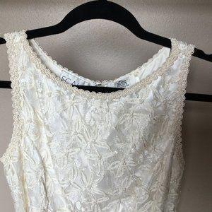 Vintage SCALA Ivory Lace Pearl Peplum Dress Size S